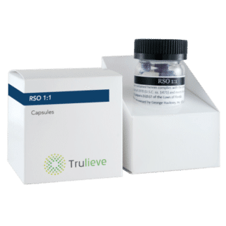 Trulieve Capsule Bottle 25ct 50mg RSO 1 to 1 TCH-CBD Ratio